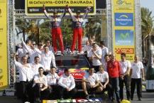MOTORSPORT - WORLD RALLY CHAMPIONSHIP 2010 - RALLY RACC CATALUNYA COSTA DAURADA / RALLY DE ESPANA / RALLYE D'ESPAGNE - SALOU (SPA) - 21 TO 24/10/10 - PHOTO : FRANCOIS BAUDIN / DPPI -  LOEB SEBASTIEN (FRA) / ELENA DANIEL (MON) - CITROËN C4 WRC - CITROËN TOTAL WRT - AMBIANCE PODIUM VICTORY WITH TEAM CITROEN