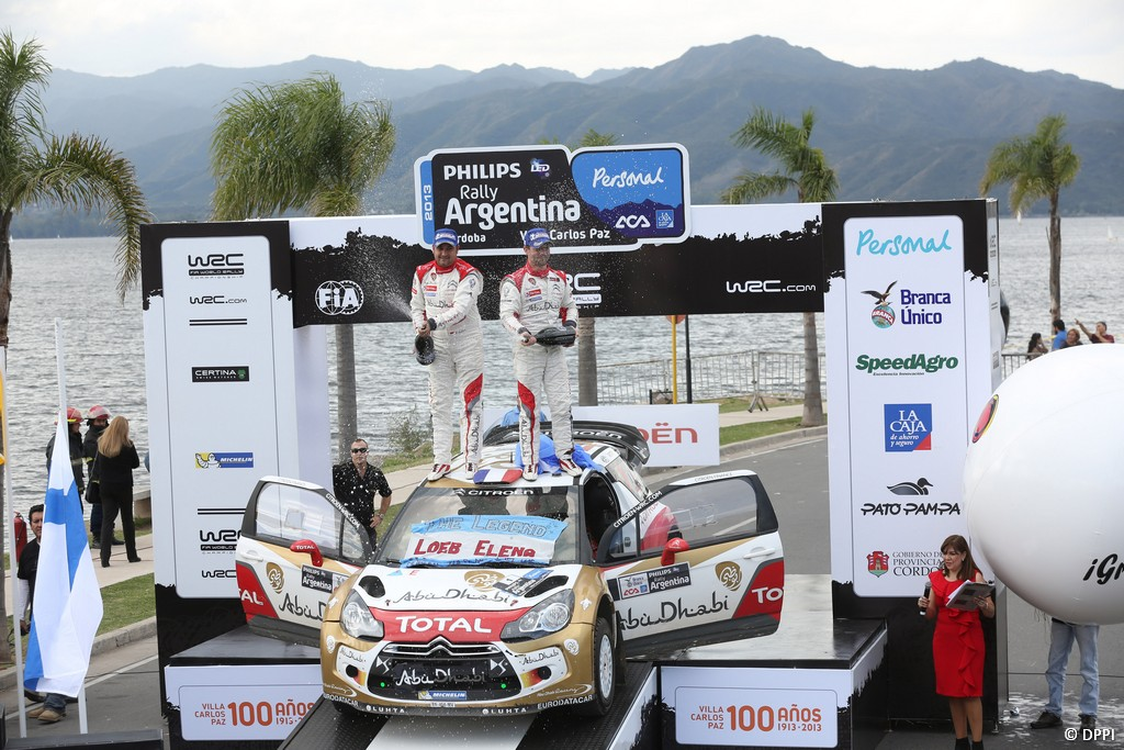 MOTORSPORT - WORLD RALLY CHAMPIONSHIP 2013 - RALLY OF ARGENTINA / RALLYE D' ARGENTINE - VILLA CARLOS PAZ (ARG) - 02 TO 05/05/2013 - PHOTO FRANCOIS BAUDIN  - 01 LOEB Sebastien / ELENA Daniel - CITROEN TOTAL ABU DHABI WRT (FRA) - CITROEN DS3 WRC / AMBIANCE PODIUM