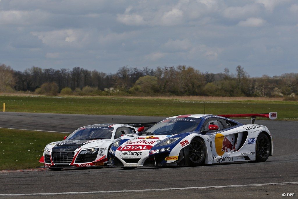 MOTORSPORT - FIA GT SERIES 2013  - NOGARO (FRA) - 30/03 TO 01/04/2013 - PHOTO : FRANCOIS FLAMAND  / DPPI      12 RENÉ RAST / NIKI MAYR-MELNHOF PRO-AM BELGIAN AUDI CLUB TEAM WRT AUDI R8 LMS ULTRA -  ACTION /09 SEBASTIEN LOEB / ALVARO PARENTE PRO SÉBASTIEN LOEB RACING MCLAREN MP4-12C GT3 -  ACTION