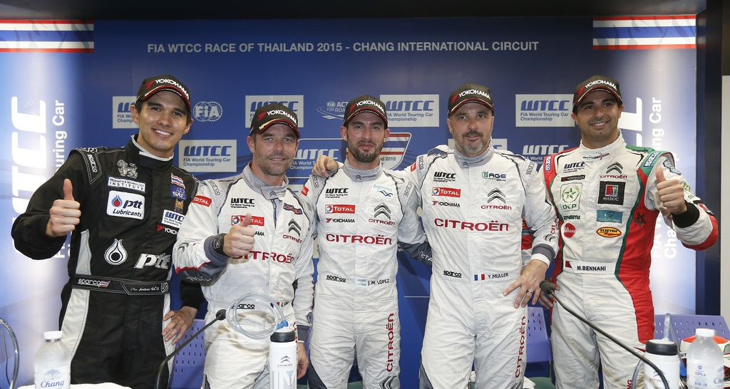 SRITRAI Tin (tha) Chevrolet Cruze team Campos racing portrait ambiance LOEB Sebastien (fra) Citroen C Elysee team Citroen racing portrait ambiance LOPEZ José Maria (arg) Citroen C Elysee team Citroen racing portrait ambiance MULLER Yvan (fra) Citroen C Elysee team Citroen racing portrait ambiance BENNANI Mehdi (mar) Citroen C Elysee team Sebastien Loeb racing portrait ambiance qualifying session during the 2015 FIA WTCC World Touring Car Championship race at Buriram from October  31h to November 1st  2015, Thailand. Photo Jean Michel Le Meur / DPPI